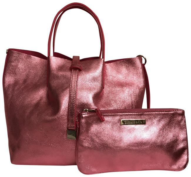 Item - Reversible Removable Pouch Pink Metallic Suede Leather Tote