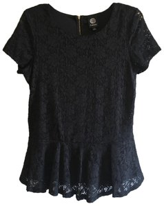 Bobeau Lace Floral Peplum Embroidered Stretchy Top Black