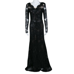 Marchesa Notte Black Floral Applique Detail Embellished Embroidered Tulle Gown M Casual Wedding Dress Size 4 (S)