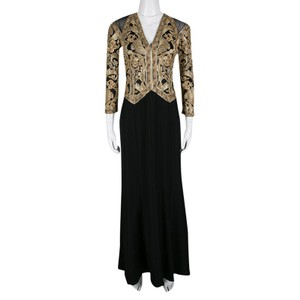 Tadashi Shoji Black And Gold Cord Embroidered Long Sleeve Trompe L'oeil Gown Xs Casual Wedding Dress Size 0 (XS)