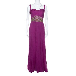 Marchesa Notte Magenta Embellished Chiffon Draped Grecian Gown S Casual Wedding Dress Size 4 (S)