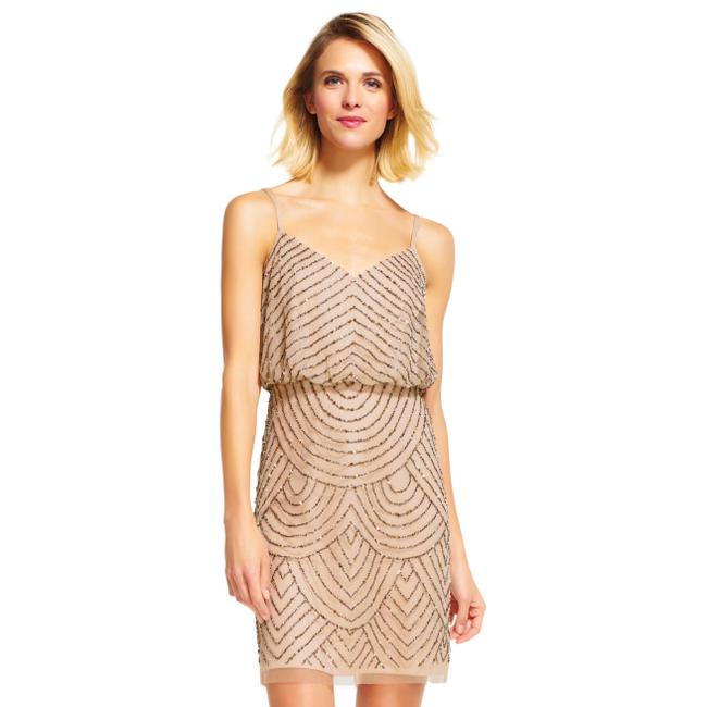 Item - Taupe Pink Beaded Short Formal Dress Size 2 (XS)