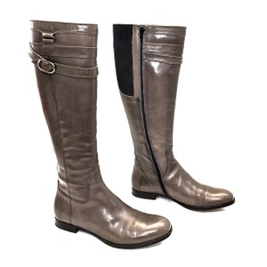 Attilio Giusti Leombruni Leather Knee High Riding Zip Up Gray Boots