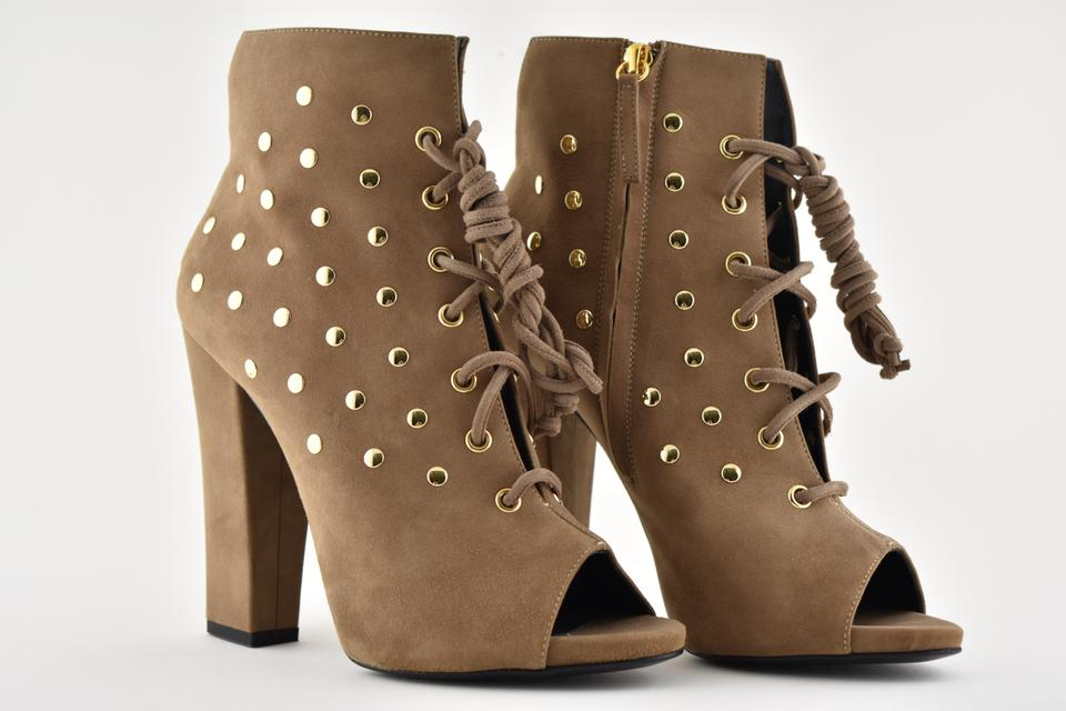 4117542bcd997 Giuseppe Zanotti Brown Alien 115 Gold Studded Peep Toe Lace Up Stiletto  Heel Ankle Boots/Booties Size EU 40 (Approx. US 10) Regular (M, B) - Tradesy