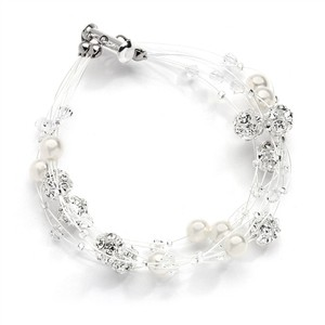 Mariell Sarah's Special 4-row Floating Pearl Crystal And Rhinestone Fireball Illusion Bridal Bracelet 4265b-4-i-cr-s