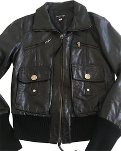 Patrizia Pepe Ribbed Hems Motorcycle Leather Jacket