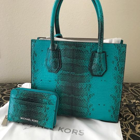 Michael Kors Medium Mercer Embossed Leather Crossbody Satchel in Tile Blue