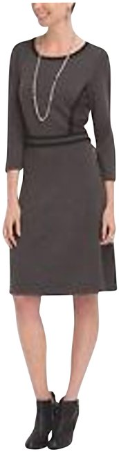 Item - Charcoal/Black Geometric 3/4-sleeve Fit&flare Sweater Style No. 10539314-9vy Short Work/Office Dress Size 6 (S)