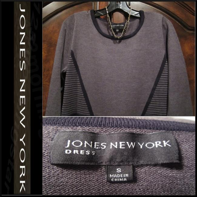 Jones New York Geomentric Print 3/4 Sleeves Fit&flare Silhouette Ribbed Trim Sweater Knit Dress