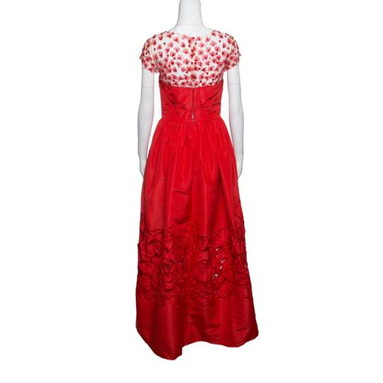 Oscar de la Renta Red Sequin Floral Embellished Cutout Detail Ball Gown S Casual Wedding Dress Size 4 (S)