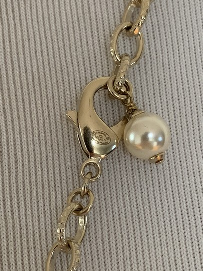 Chanel Chanel CC Logo Charm Beaded Pearl Goldtone Chain Long Necklace