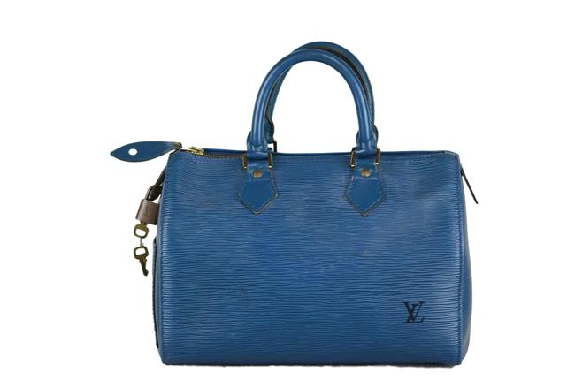 Louis Vuitton Speedy 25 Epi Zipper Pull Tag Crack Blue Leather Tote Louis Vuitton Speedy 25 Epi Zipper Pull Tag Crack Blue Leather Tote Image 1