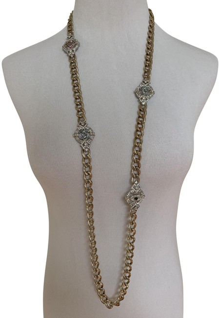 Chanel Gold Cc Logo Heart Crystal Medallion Station Goldtone Chain Long Necklace Chanel Gold Cc Logo Heart Crystal Medallion Station Goldtone Chain Long Necklace Image 1