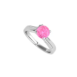 DesignByVeronica Round Shaped Pink Sapphire and CZ Engagement Ring