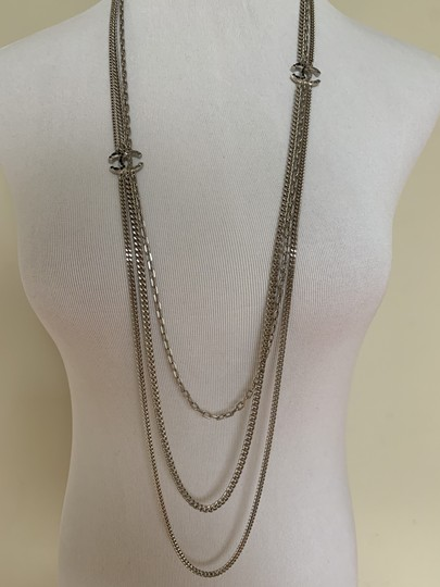 Chanel Chanel Double CC Logo Crystal Charm Station Silver Tone Chain Long Nec