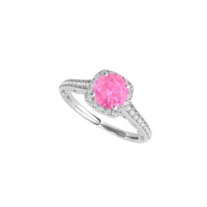 DesignByVeronica Halo Design Engagement Ring with Pink Sapphire and CZ