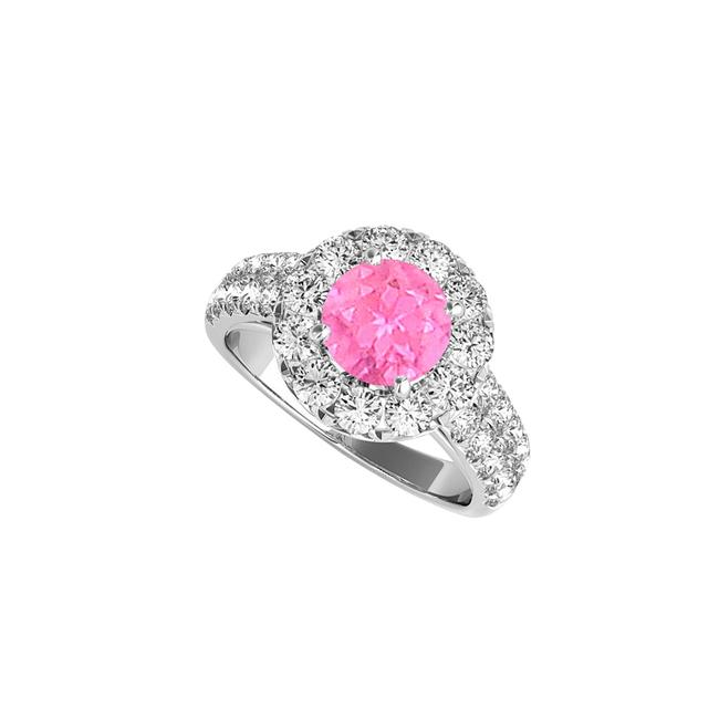 Unbranded White Halo Pink Sapphire Engagement with Double Cz Rows Ring Unbranded White Halo Pink Sapphire Engagement with Double Cz Rows Ring Image 1