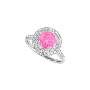 DesignByVeronica Created Pink Sapphire CZ Halo Engagement Ring April Birthstone