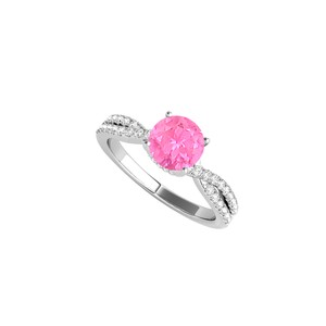 DesignByVeronica Sterling Silver CZ Criss Cross Ring with Pink Sapphire