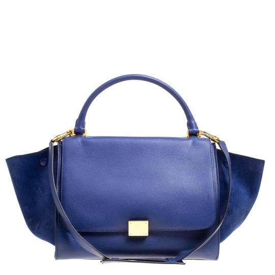 Preload https://img-static.tradesy.com/item/24221885/celine-trapeze-and-suede-medium-blue-leather-tote-0-0-540-540.jpg