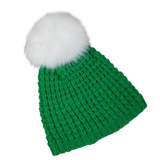 Preload https://img-static.tradesy.com/item/24221937/green-genuine-fox-fur-pompom-wool-blend-beanie-hat-0-1-540-540.jpg