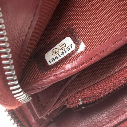 Chanel Red Quilted Leather Zip Around Long Wallet