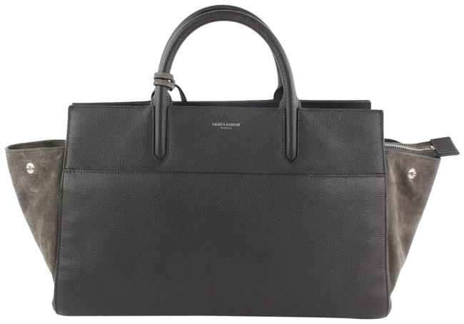 Saint Laurent Cabas Rive Gauche Anthracite Small 2way 16mz1019 Grey Leather Tote Image 1