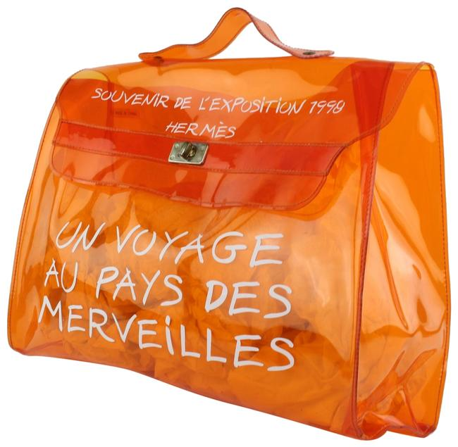 Hermès Kelly L 1998 L'exposition Clear Souvenir 24hz1019 Orange Vinyl Tote Image 1