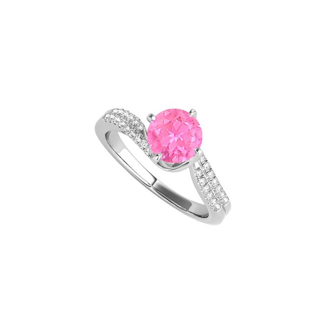 White September Birthstone Pink Sapphire and Cz Ring Image 1