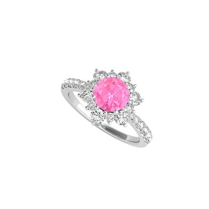 DesignByVeronica Pink Sapphire CZ Sterling Silver Flower Design Ring