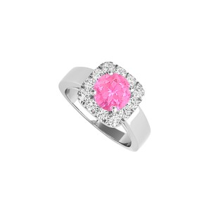DesignByVeronica Pink Sapphire CZ Halo Ring in 925 Sterling Silver