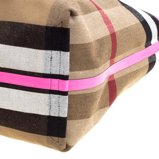 Burberry Tote in Black/Neon Pink