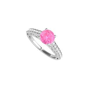 DesignByVeronica CZ Pink Sapphire Engagement Ring in 925 Sterling Silver