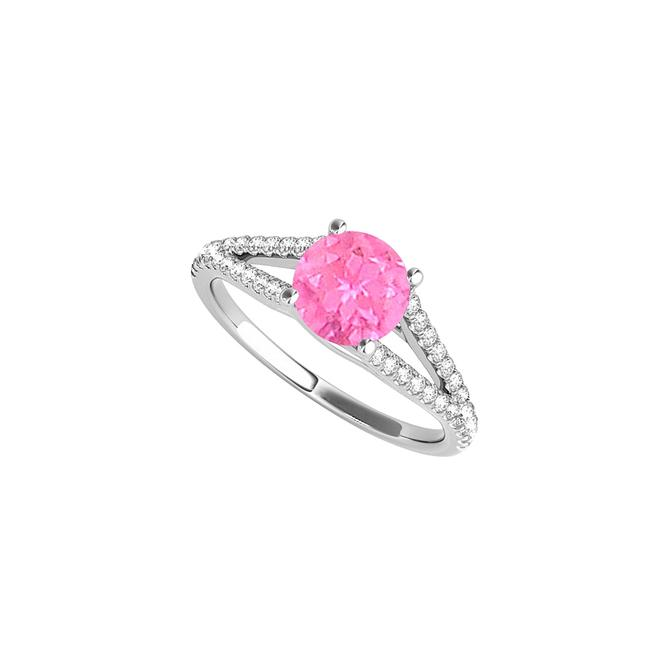Unbranded White September Birthstone Pink Sapphire Cz Split Shank Ring Unbranded White September Birthstone Pink Sapphire Cz Split Shank Ring Image 1
