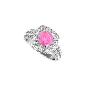 DesignByVeronica Pink Sapphire and CZ Halo Ring in 925 Sterling Silver