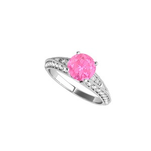 DesignByVeronica Pink Sapphire CZ Engagement Ring in 925 Sterling Silver