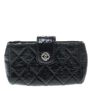 Chanel Black Quilted Coated Fabric iPhone Pouch