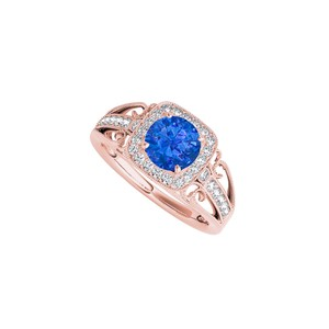 DesignByVeronica Sapphire CZ Filigree Design Ring in Rose Gold Vermeil