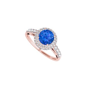 DesignByVeronica Halo Engagement Ring with Sapphire and CZ 1.50 CT TGW