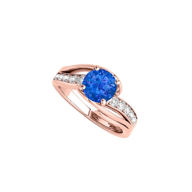Blue September Birthstone Sapphire with Cz Rows Ring Image 1