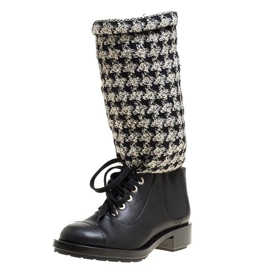 Preload https://img-static.tradesy.com/item/24222265/chanel-black-blackoff-white-leather-and-tweed-lace-up-chain-detail-bootsbooties-size-eu-365-approx-u-0-0-540-540.jpg