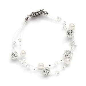 Mariell Sarah's Special 2-row Floating Pearl Crystal And Rhinestone Fireball Illusion Bridal Bracelet 4265b-2-i-cr-s