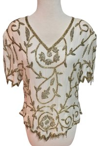 Laurence Kazar Silk Beaded Hand Made Top White/Gold