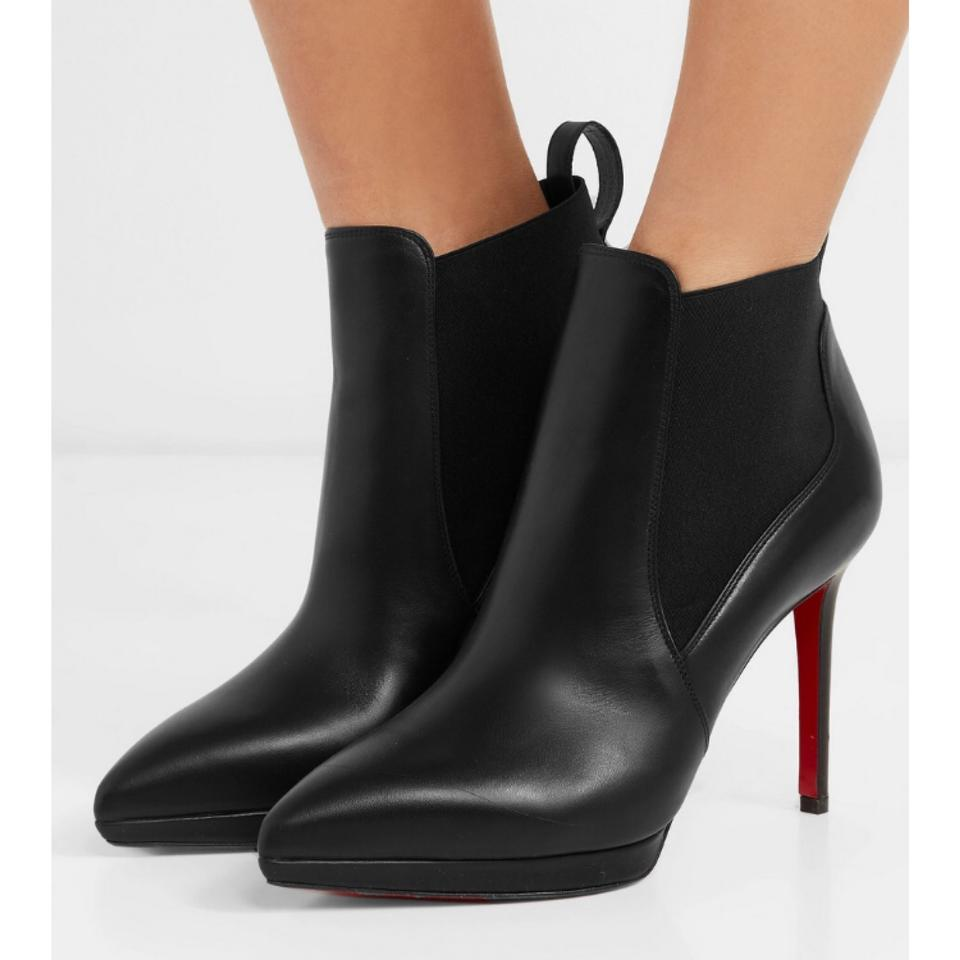 b0d3b9e0c517 Christian Louboutin Crochinetta 100 Leather Ankle Boots Booties Size US 6  Regular (M