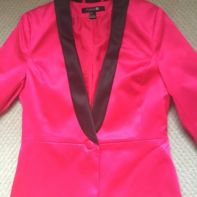 Forever 21 fuchsia with black on lapel Blazer Image 1