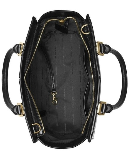 MICHAEL Michael Kors Selma Medium Diamond Quilted Smooth Leather Shoulder Black/Gold Satchel in Black/Gold Image 1