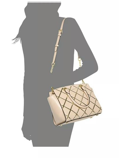 MICHAEL Michael Kors Selma Medium Diamond Quilted Smooth Leather Shoulder Black/Gold Satchel in Black/Gold Image 2