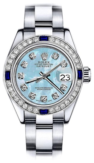 Preload https://img-static.tradesy.com/item/24222444/rolex-stainless-steel-baby-blue-pearl-26mm-datejust-diamond-and-sapphire-bezel-watch-0-1-540-540.jpg