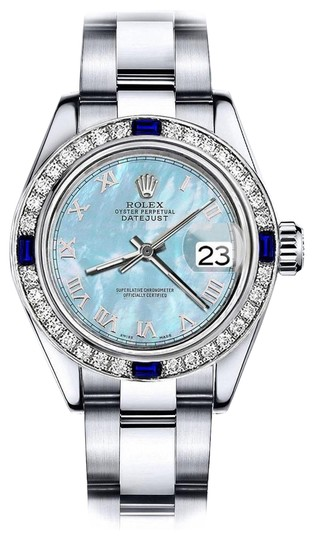 Preload https://img-static.tradesy.com/item/24222450/rolex-stainless-steel-baby-blue-pearl-roman-26mm-datejust-diamond-and-sapphire-bezel-watch-0-1-540-540.jpg