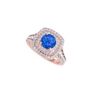 DesignByVeronica September Birthstone Sapphire and CZ Engagement Ring